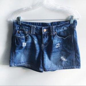 Gap denim shorts blue midi distressed zipper